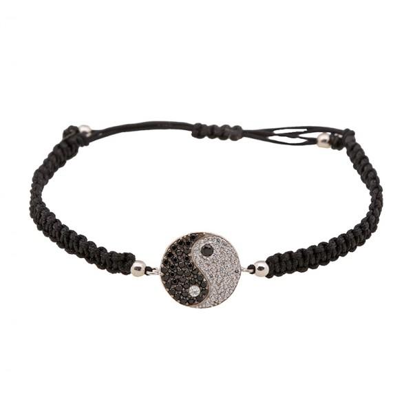 Jt Silver yin-yang macrame charm bracelet