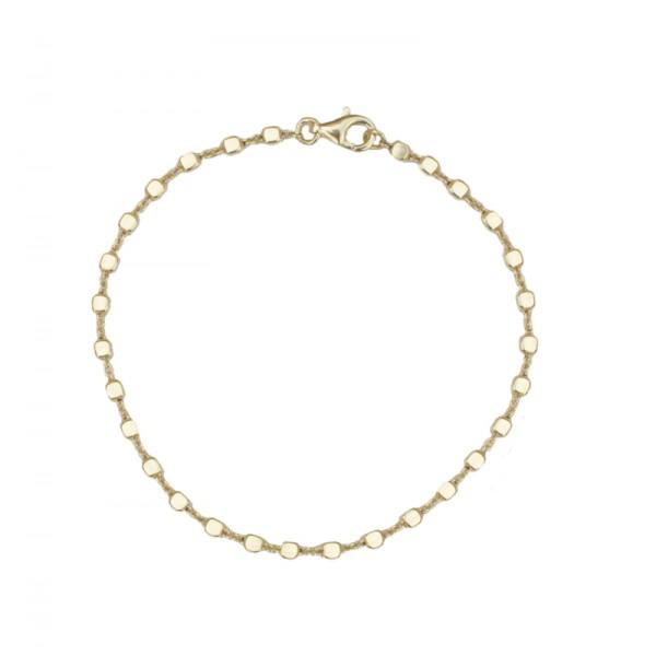 Jt Επιχρυσωμένο ασήμι βραχιόλι αλυσίδα μικροί κύβοι
