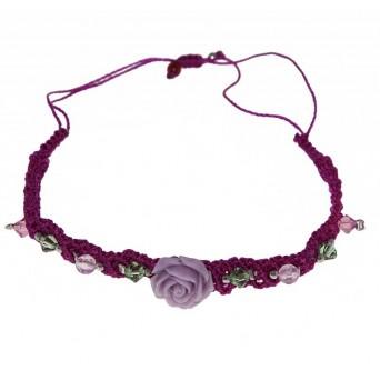 Jt Silver macrame purple flower bracelet with Swarovski