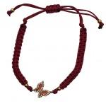 Jt Gold plated silver butterfly macrame charm bracelet