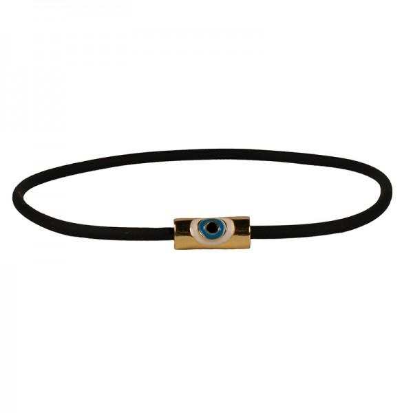 Jt Golden evil eye bracelet on black rubber