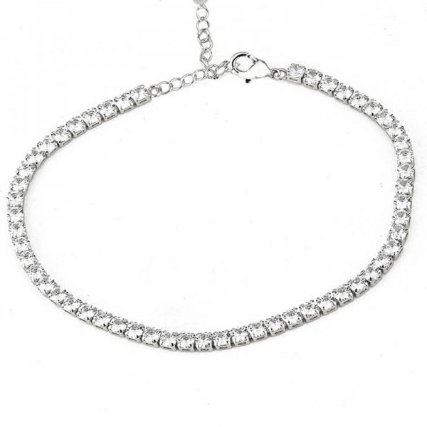 Jt Stainless steel thick riviera bracelet with white crystals