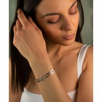 Jt Silver Chain Bracelet Wide Hoops