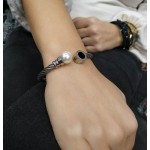 Jt Stainless steel twisted cuff pearl bracelet