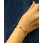 Jt Silver and black rubber bracelet
