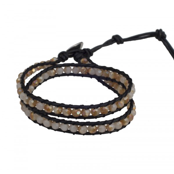 Jt Beige and brown Chan Luu style beaded leather bracelet