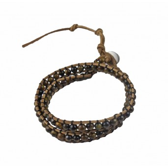 Jt Tiger Eye Chan Luu style beaded leather bracelet