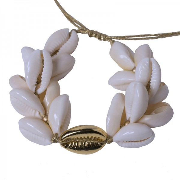 Jt Statement gold plated bronze bracelet 'double seashells'