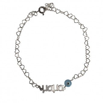 "Jt Silver ""Mαμά""(Mom in greek) bracelet with evil eye"