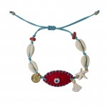 Jt Gold plated bronze bracelet evil eye with seashells