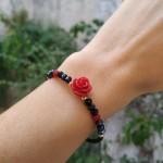 Jt Ασημένιο χρυσό βραχιόλι τριαντάφυλλο με πέτρες
