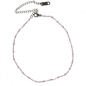 Jt Ατσάλινη αλυσίδα ποδιού με ροζ σμάλτο