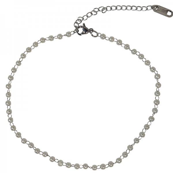 Jt Stainless steel ankle bracelet white pearls
