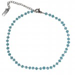 Jt Stainless steel rosary ankle bracelet blue crystals