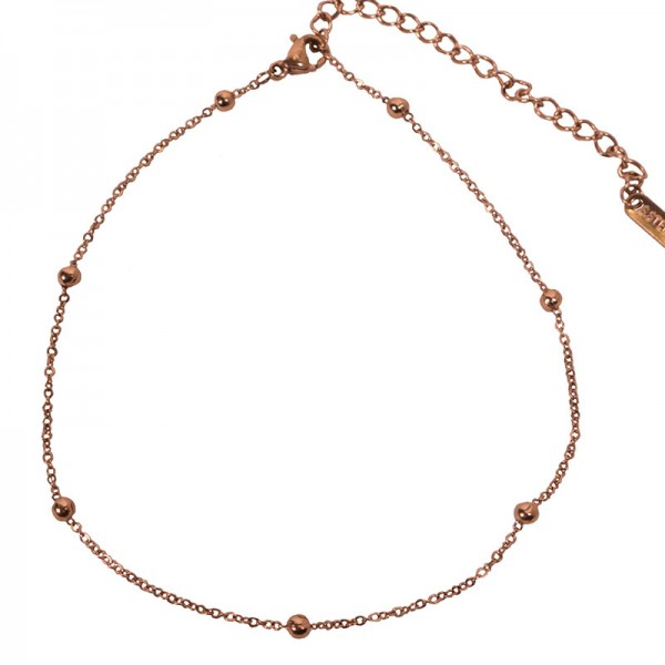 Jt Rose gold stainless steel chain beaded ankle bracelet