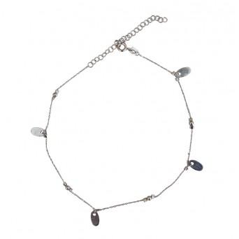 Jt Silver chain ankle bracelet with oval pendants
