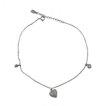 Jt Silver chain ankle bracelet with zirconia heart