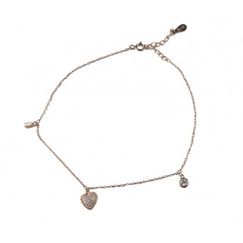 Jt Rose gold silver chain ankle bracelet with zirconia heart