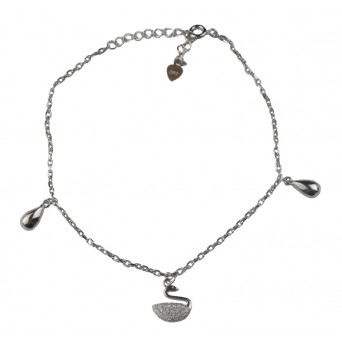 Jt Silver chain ankle bracelet with swan and zirconia