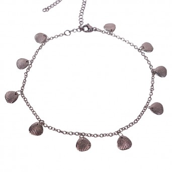 Jt Metallic chain anklet with seashells