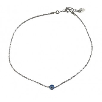 Jt Silver chain ankle bracelet with blue murano evil eye
