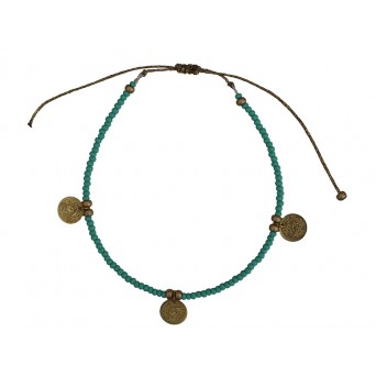 Jt Bronze turquoise beaded ankle bracelet with coins