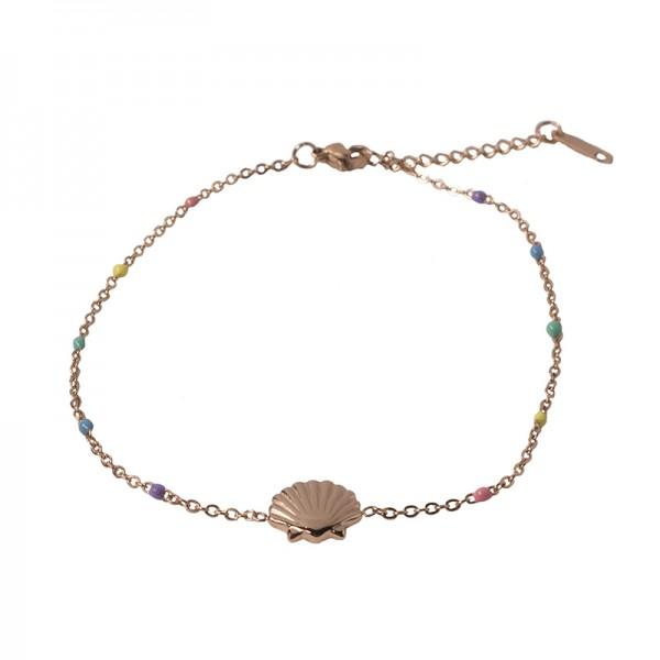 Jt Seashell ankle bracelet rose steel