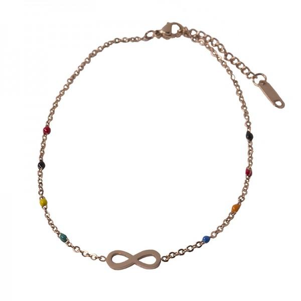 Jt Infinity ankle bracelet rose steel