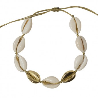 Jt Gold plated bronze ankle bracelet with seashells