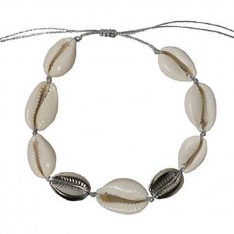 Jt Statement silver plated bronze ankle bracelet seashells