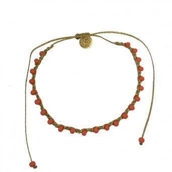 Jt Gold boho macrame ankle bracelet, coral beads & bronze coin