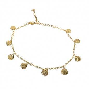 Jt Gold plated metallic anklet with seashells