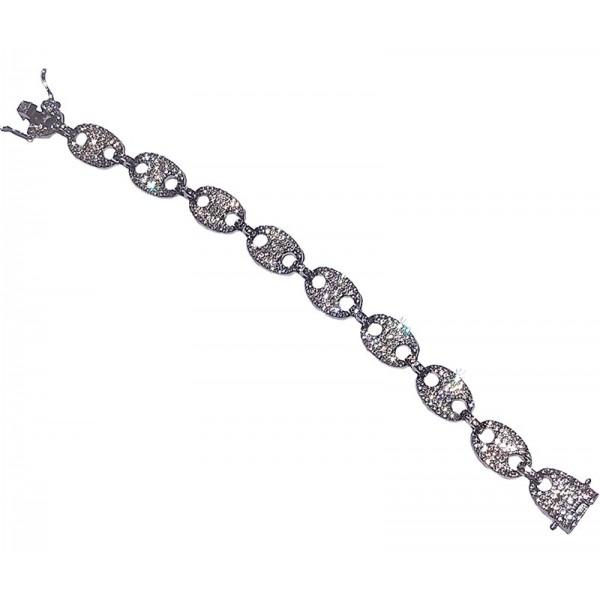 Jt Platinum Plating Bracelet White Crystals
