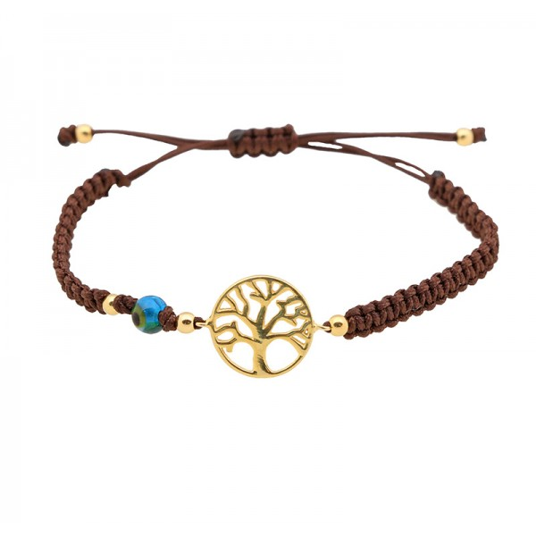 Jt Gold Plated Silver Tree of Life macrame charm bracelet