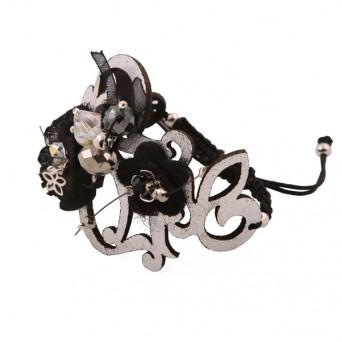 Jt Sterling silver leather macrame Swarovski bracelet