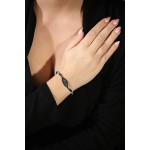 Jt Sterling silver alloy eye elastic charm bracelet