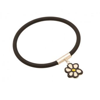 Jt Silver flower black rubber bangle bracelet