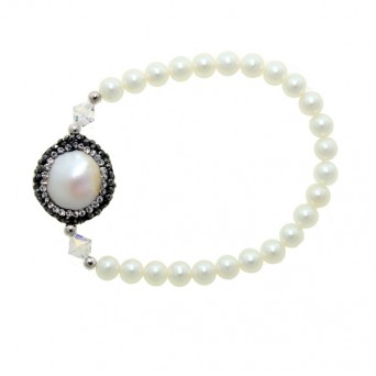 Jt Silver fresh water pearls and Swarovski elastic bracelet