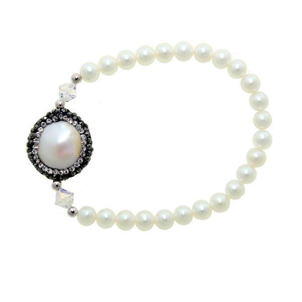 Jt Silver fresh water pearls and Swarovski elastic bracelet