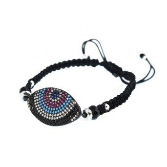 Jt Silver alloy eye macrame charm bracelet