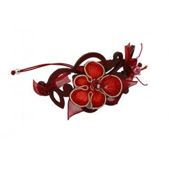 Jt Ασημένιο δερμάτινο μακραμέ μπορντώ βραχιόλι λουλούδι