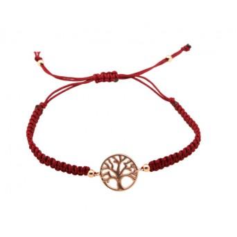 Jt Rose silver Tree of Life macrame charm bracelet
