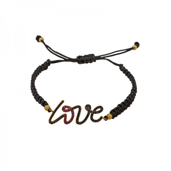 Jt Gold plated silver love macrame zirconia charm bracelet