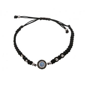 Jt Silver target eye macrame charm bracelet