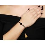 Jt Gold plated silver macrame bracelet with onyx