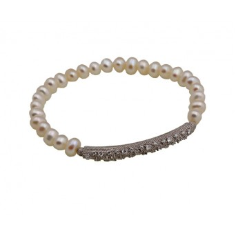 Jt Silver fresh water pearls and zirconia elastic bracelet