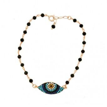 Jt Rose silver link chain eye charm bracelet