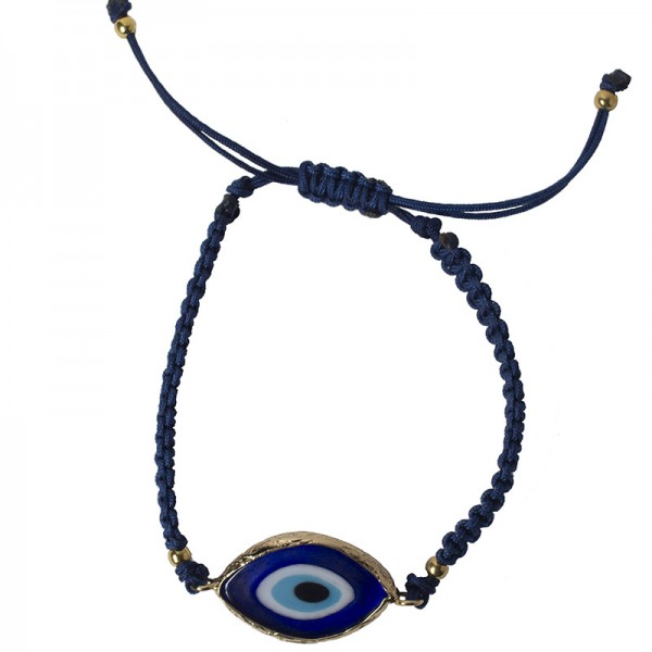 Jt Silver macrame evil eye bracelet with ceramic
