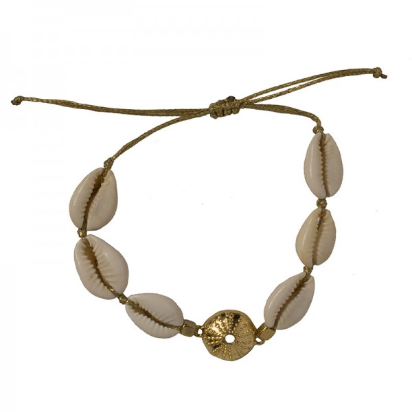 Jt Gold plated bronze urchin bracelet with seashells