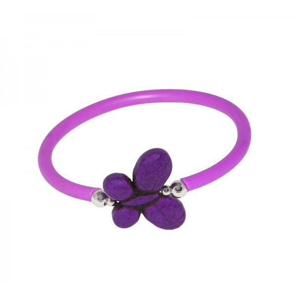 Jt Silver elastic black rubber pulple butterfly bracelet